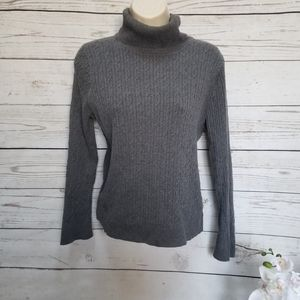 Talbots Gray Long Sleeve Ribbed Roll Neck Sweater